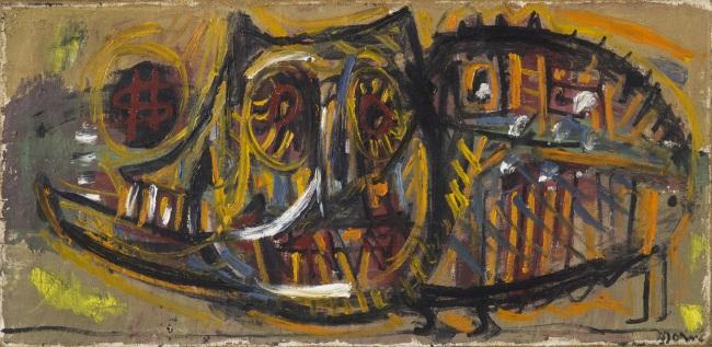 """""""The Golden Swine: War Vision,"""" (1950) by Asger Jorn (MMCA)"""