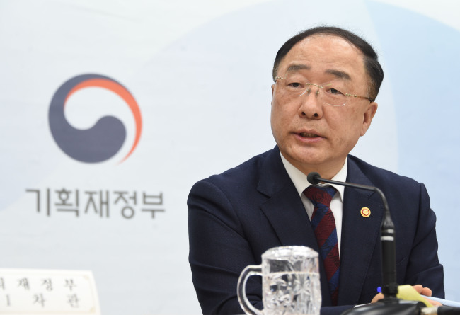 Deputy Prime Minister and Finance Minister Hong Nam-ki speaks during an advance press briefing on the supplementary budget bill at Seoul Government Complex on Monday. (Ministry of Economy and Finance)