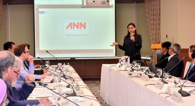 Shefali Rekhi from the Straits Times delivers a speech on the founding of the Asia News Network. (Park Hyun-koo/The Korea Herald)