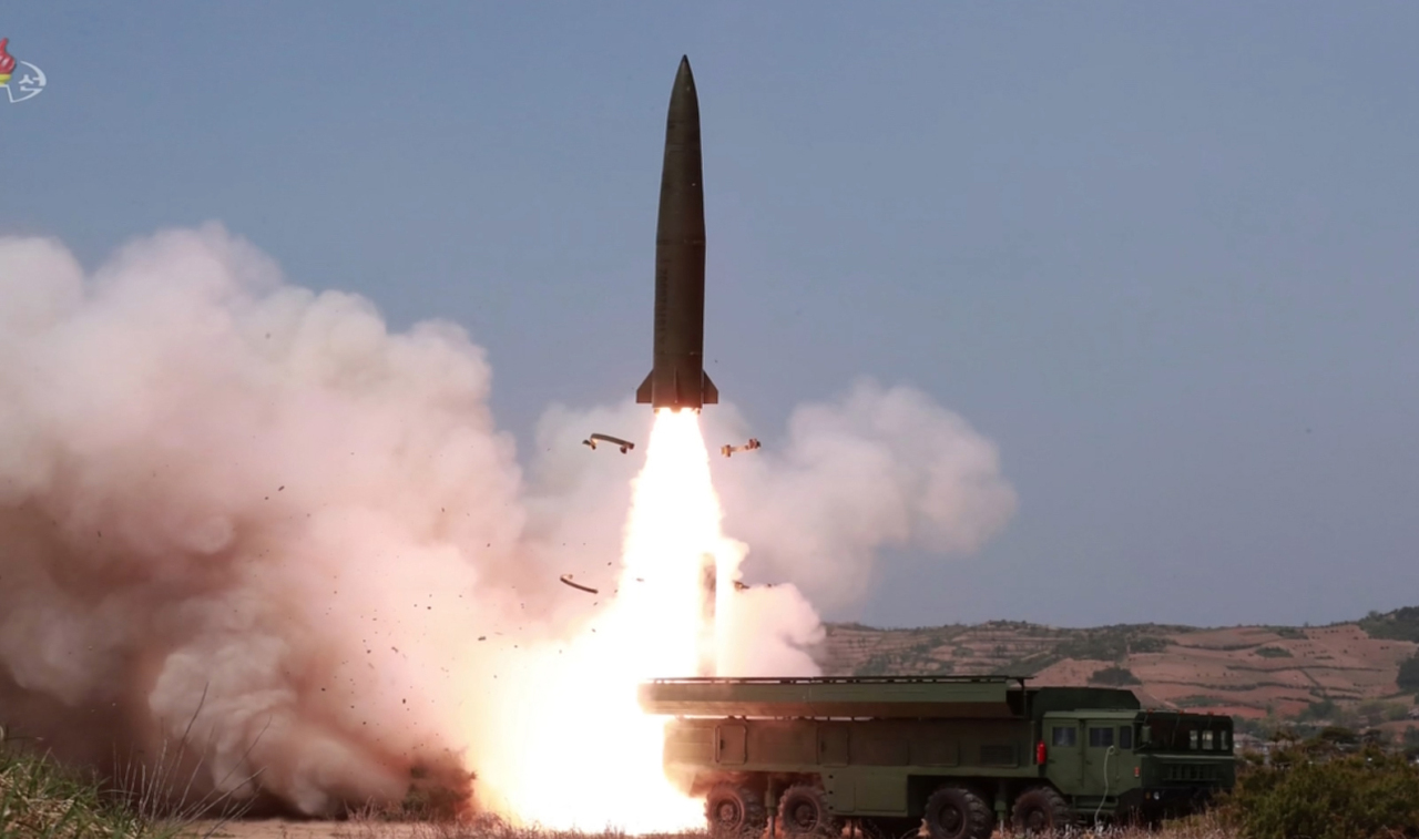 A projectile takes off in a photograph released by the Korean Central News Agency. Yonhap