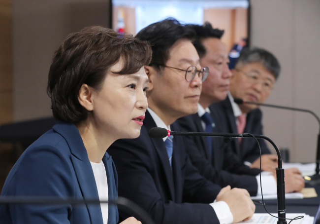 Land Minister Kim Hyun-mee speaks at a press briefing at the Seoul Government Complex on Tuesday, announcing an urban development plan that will add 110,000 new homes in Seoul and the surrounding suburbs. (Yonhap)