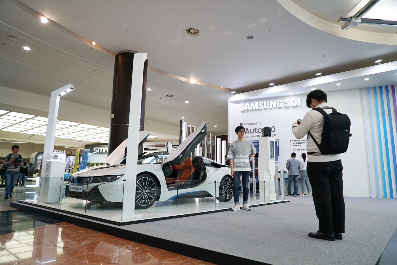 An electric vehicle is on display at the sixth International Electric Vehicle Expo held on Jeju Island from Wednesday to Saturday. (Lim Jeong-yeo/The Korea Herald)
