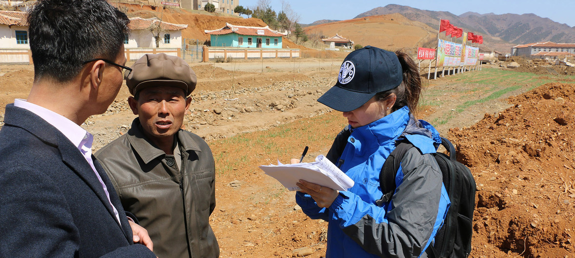 An FAO and WFP assessment team visited Unpa County, North Hwanghae Province, in North Korea in April. (WFP)