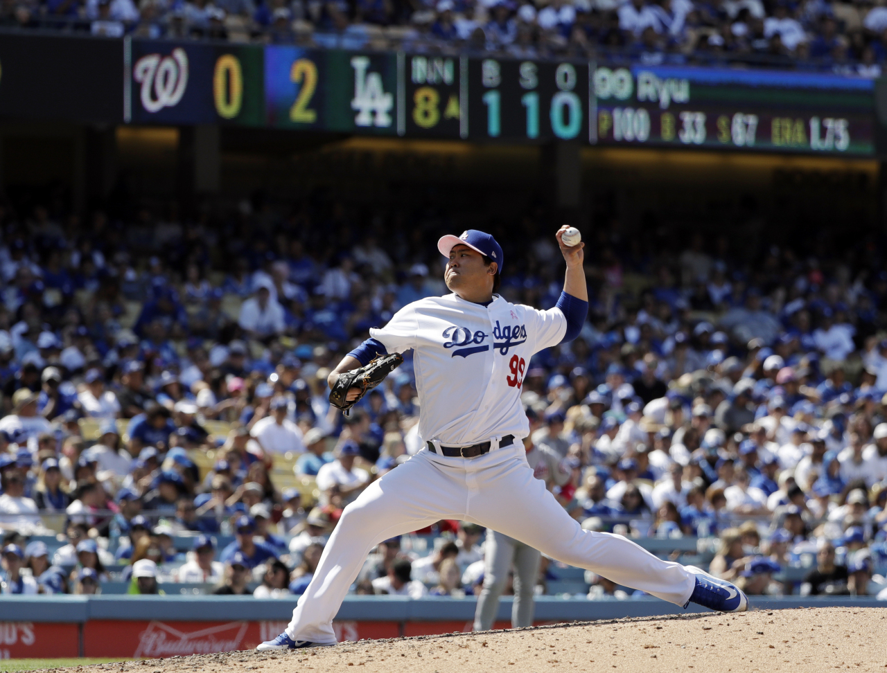 Los Angeles Dodgers starting pitcher Hyun-Jin Ryu throws to the Washington Nationals during the eighth inning of a baseball game Sunday, May 12, 2019, in Los Angeles. (AP)