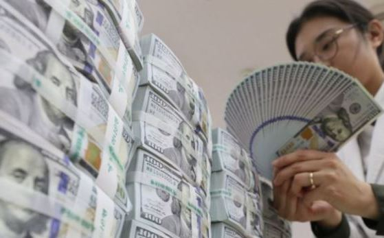 A commercial bank employee in Seoul counts batches of $100 bills. (Yonhap)