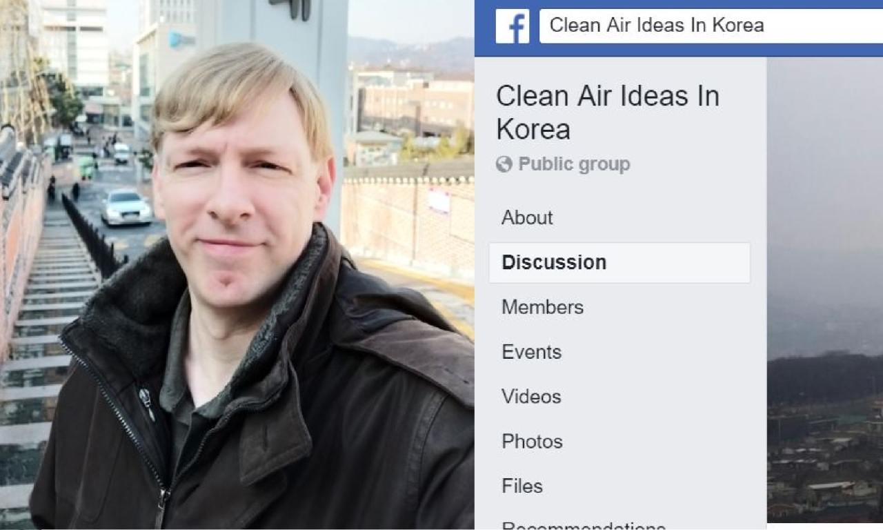 Derek Fichtner (left), founder and administrator of the Facebook group Clean Air Ideas in Korea (Derek Fichtner)