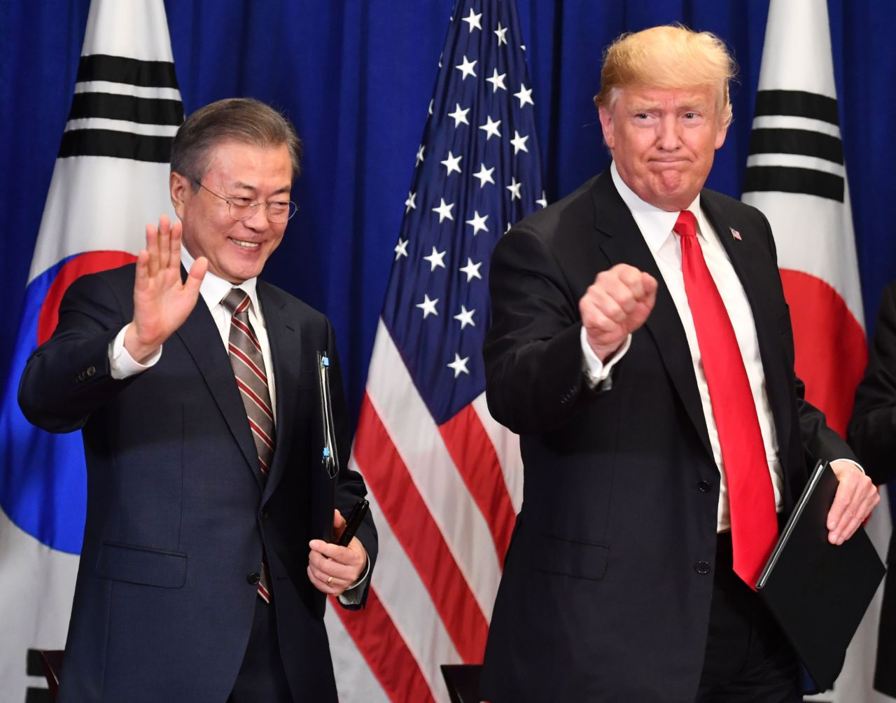 President Donald Trump will visit South Korea in June to meet with his counterpart Moon Jae-in over their efforts to persuade North Korea to scrap its nuclear weapons arsenal, the White House said May 15, 2019. (AFP)