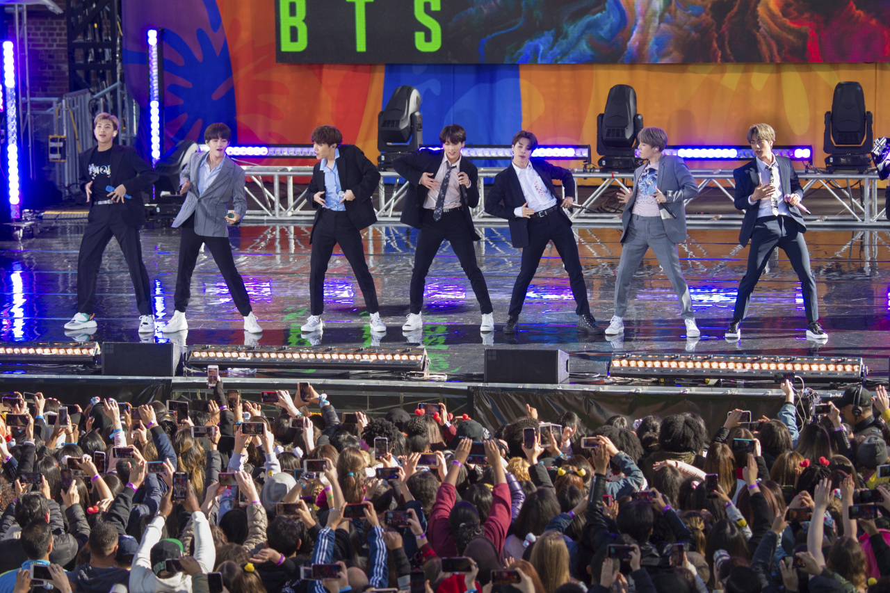 South Korean boy band BTS perform on ABC`s