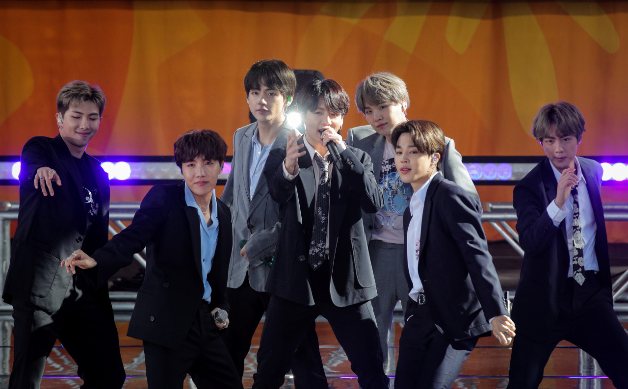 Members of K-Pop band, BTS perform on ABC`s `Good Morning America` show in Central Park in New York City, U.S., May 15, 2019. (REUTERS)