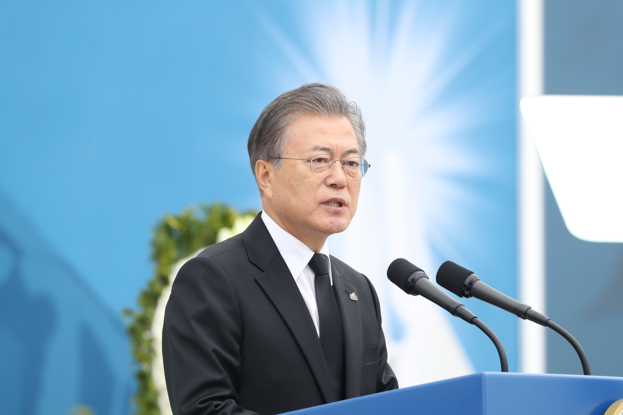 President Moon Jae-in delivers a speech on the 39th anniversary of the May 18 Gwangju Democratization Movement held at the National Cemetery for the May 18th Democratic Uprising in Gwangju on Saturday. (Yonhap).