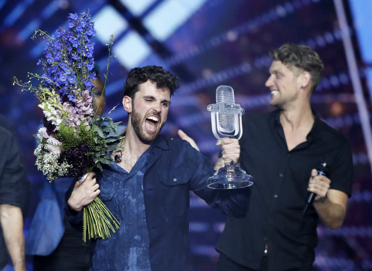 Duncan Laurence of the Netherlands celebrates after winning the 2019 Eurovision Song Contest grand final in Tel Aviv, Israel, Saturday, May 18, 2019. (AP)