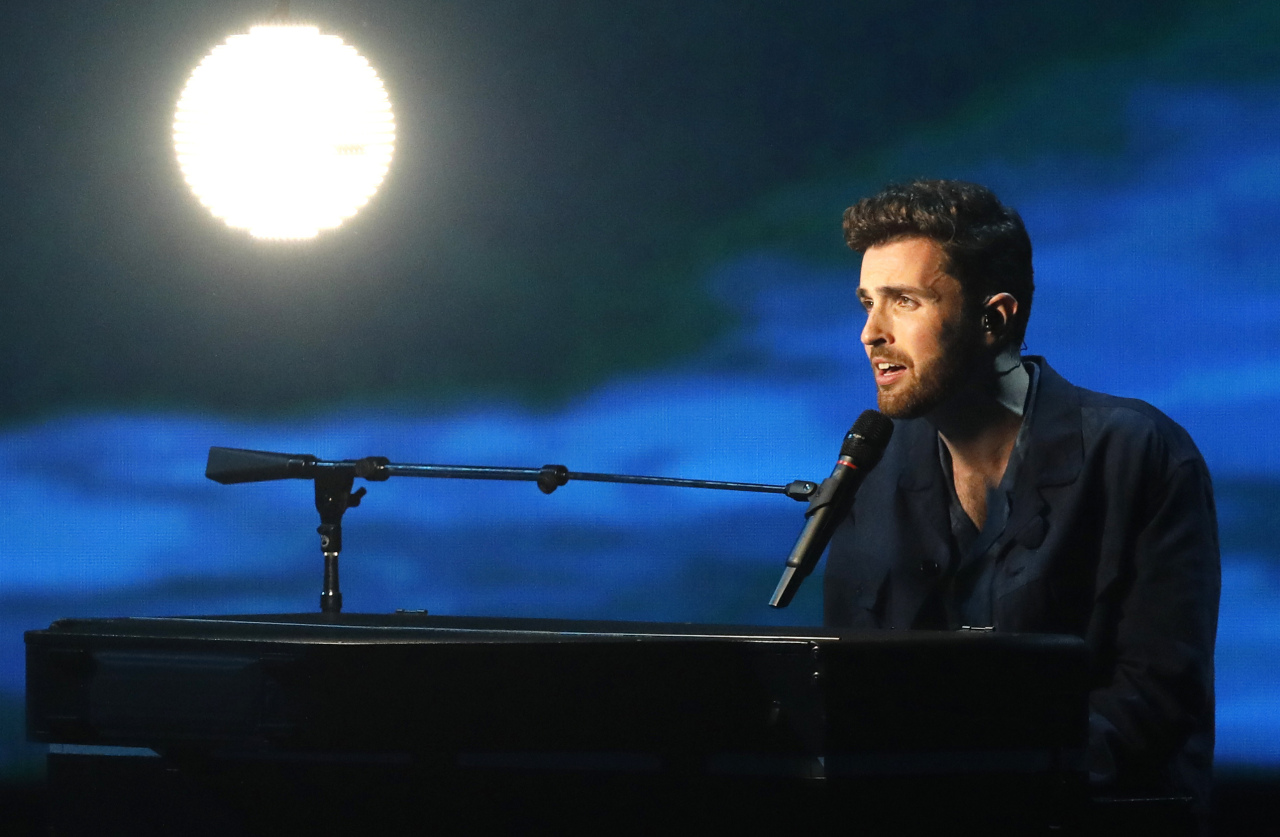 Duncan Laurence of the Netherlands performs the song