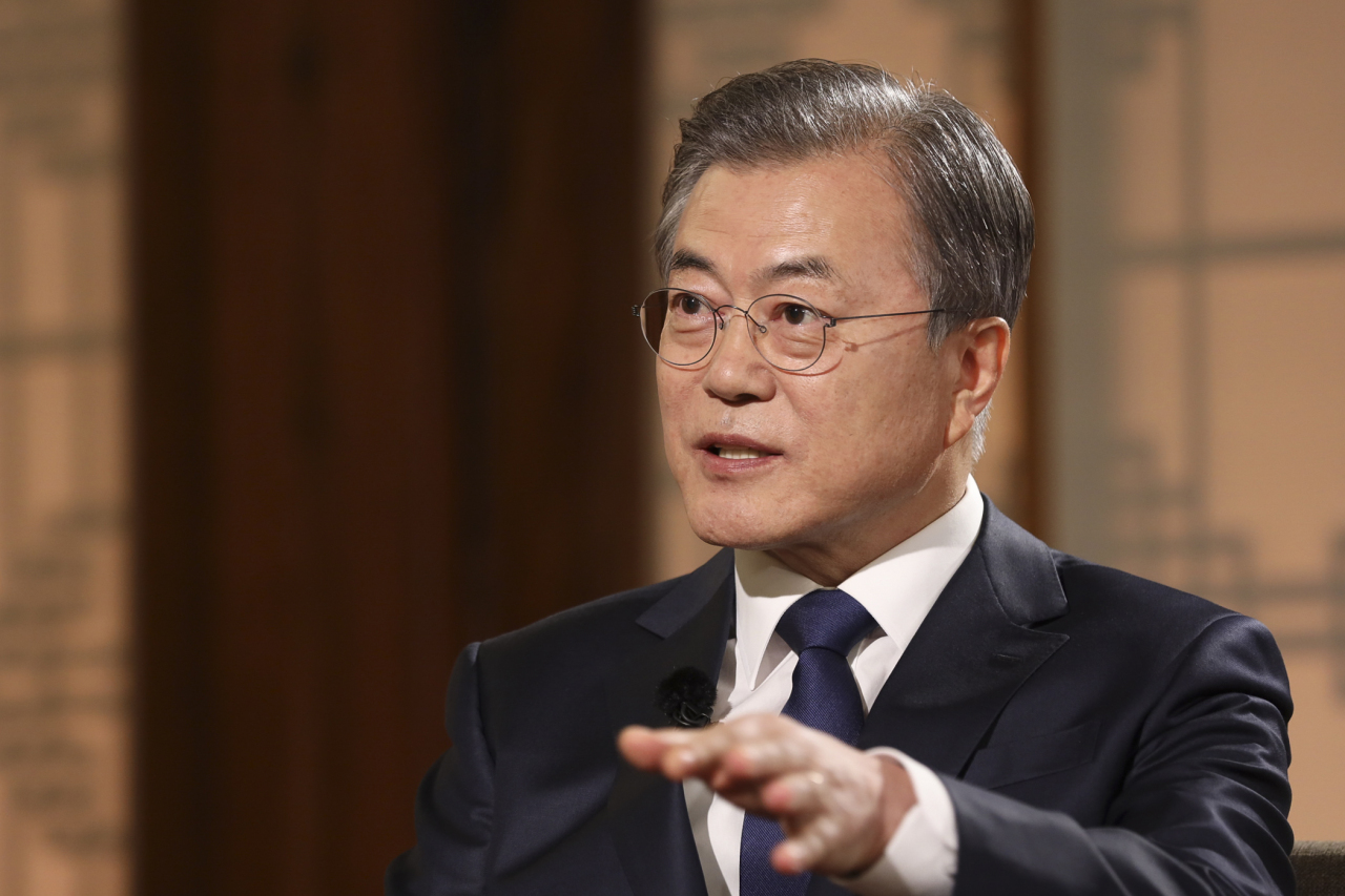 President Moon Jae-in speaks during a live interview with public broadcaster KBS at Cheong Wa Dae in Seoul on May 9, a day before the second anniversary of his taking office. (Yonhap)