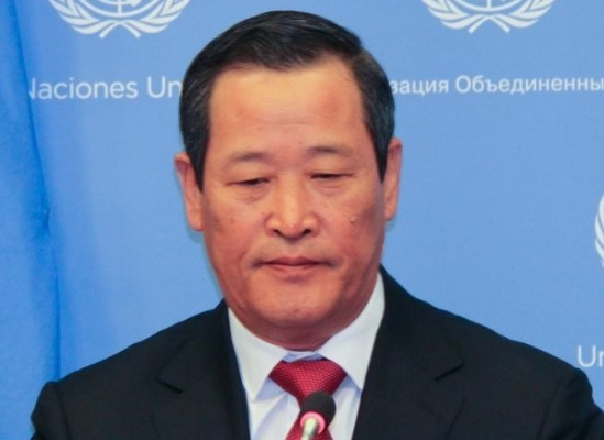 North Korean Ambassador to the United Nations Kim Song attends a press conference at the UN headquarters in New York on May 21, 2019. Kim redoubled calls for the United States to quickly return a North Korean cargo ship seized on suspicion of violating international sanctions. (Yonhap)
