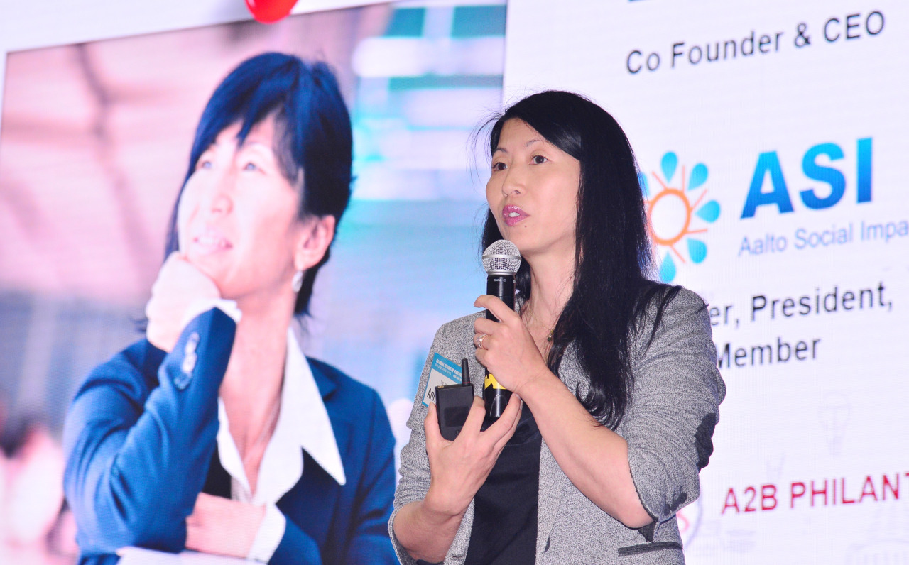 Anne Badan, CEO of The Shortcut, delivers a speech at the EXIT Daejeon 2019, a startup conference in Daejeon City on Tuesday. (Park Hyun-koo/The Korea Herald)