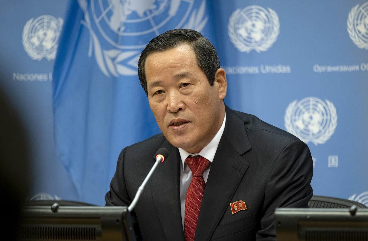 North Korea`s UN Ambassador Kim Song addresses attendees during a news conference at UN headquarters Tuesday. (AP-Yonhap)