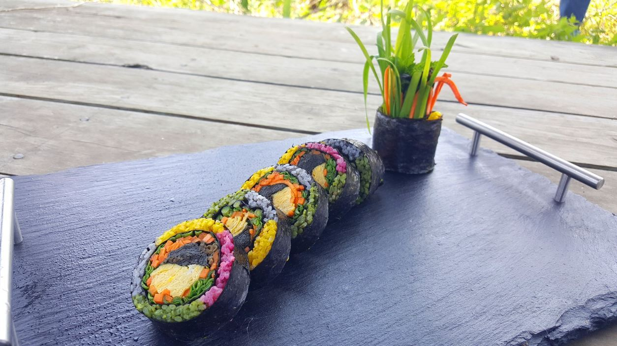 Kim's approach to gimbap is wholesome, from the use of high-quality, local ingredients, playful flavors and visually appealing presentation. Photo provided by Kim)