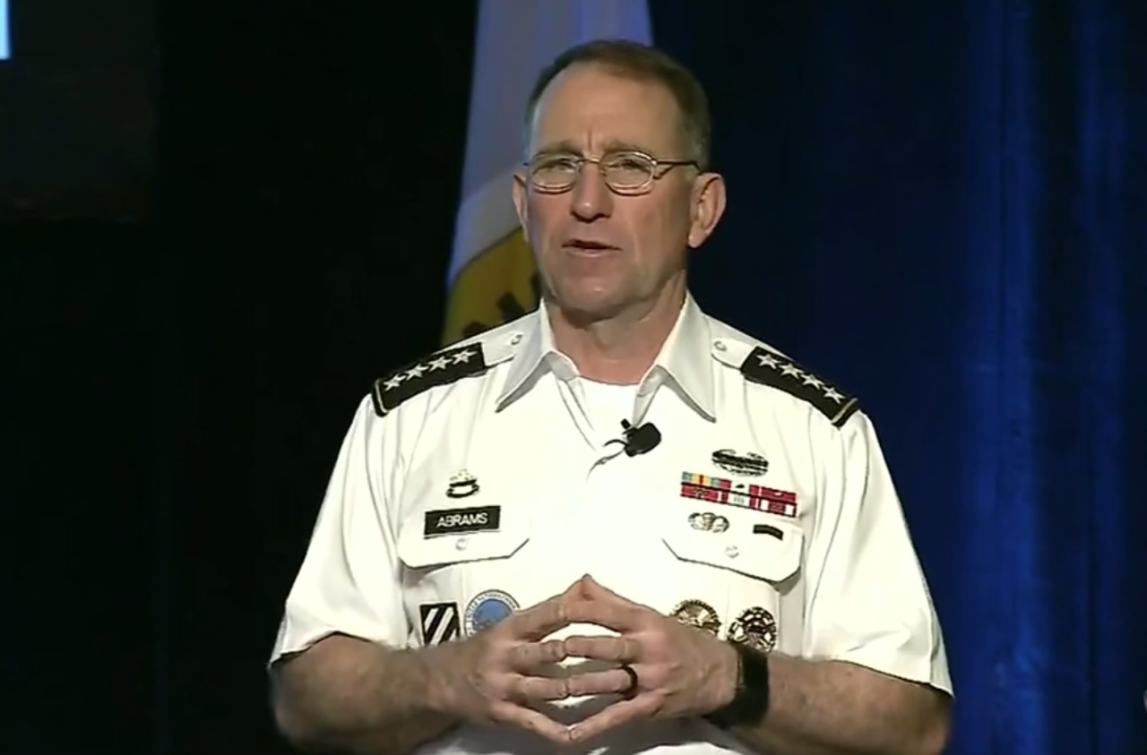 Gen. Robert Abrams, the commander of the United Nations Command, Combined Forces Command and US Forces Korea, speaks at LANPAC symposium held in Honolulu on Tuesday. (Screen captured from US Department of Defense website)