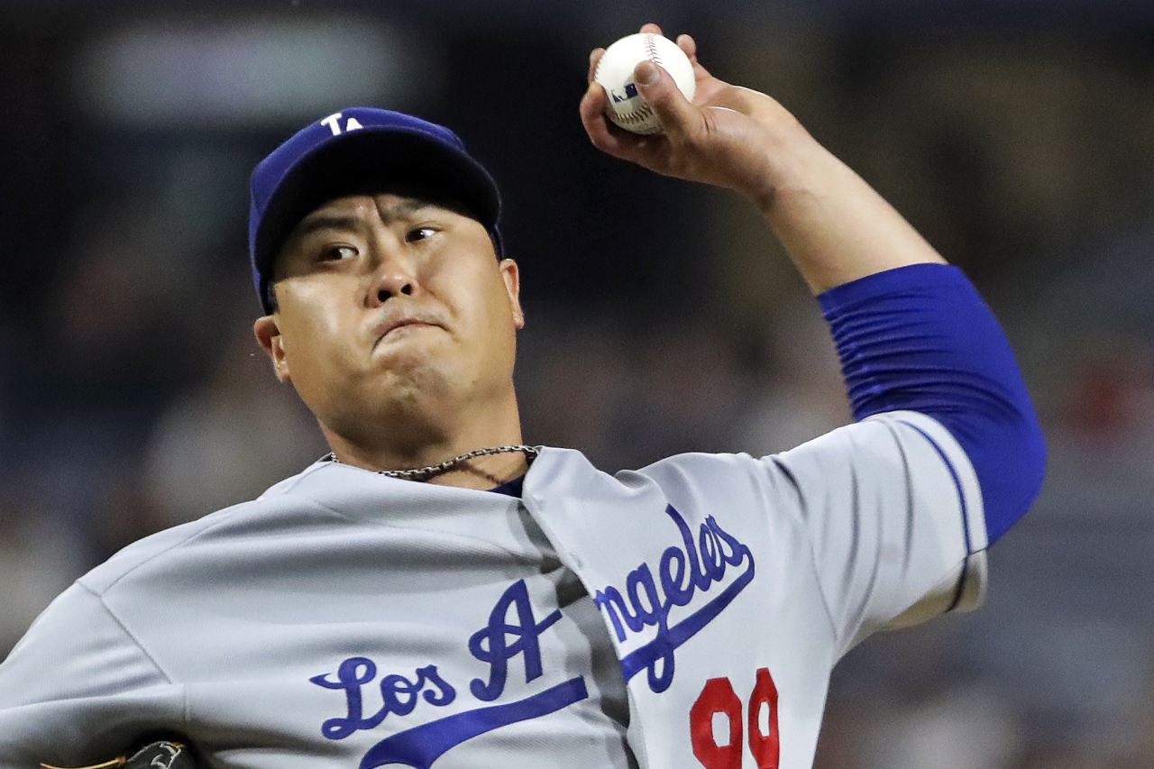Los Angeles Dodgers starting pitcher Hyun-Jin Ryu delivers in the fifth inning of the team`s baseball game against the Pittsburgh Pirates in Pittsburgh, Saturday, May 25, 2019. (AP)