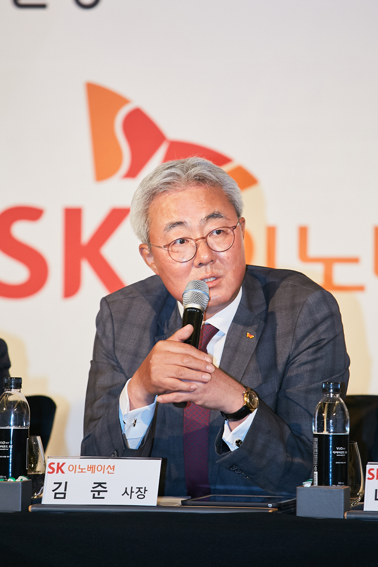 SK Innovation CEO Kim Jun speaks during a press conference held in Seoul on Monday. (SK Innovation)