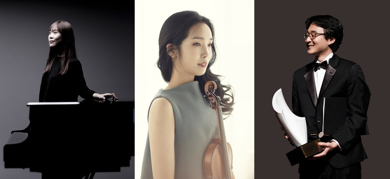 From left: Pianist Son Yeol-eum (Marco Borggreve), violinist Park Ji-yoon and pianist Hans H. Suh (MPyC)