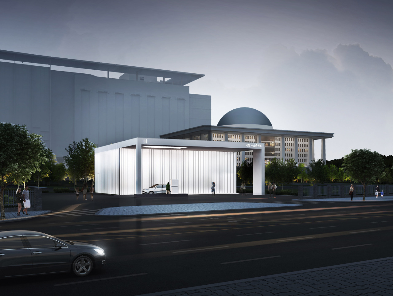 An artist's impression of the planned hydrogen station at the National Assembly (Hyundai Motor)