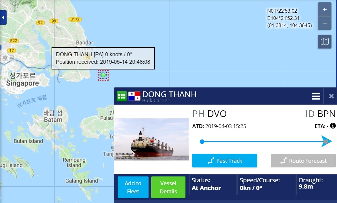 (Screen captured from Marine Tracker)