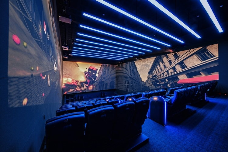 Thee inside of a theater equipped with 4DX with ScreenX, Korean multiplex giant CJ CGV's latest technology that enables a multisensory movie experience. (CJ CGV)