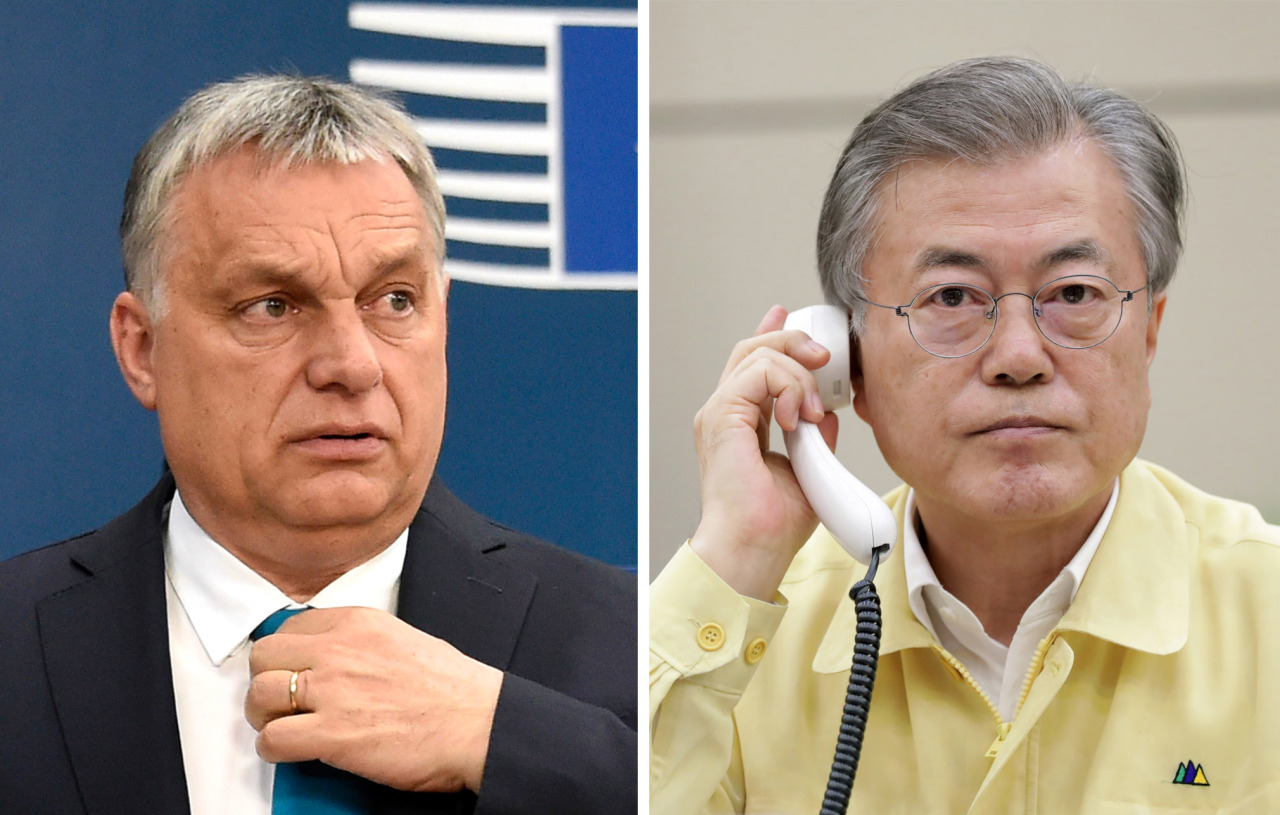 South Korean President Moon Jae-in (right) requested Hungary's Prime Minister Viktor Orban for Hungary's full support in the search for more than a dozen South Koreans missing in a river boat sinking. (Yonhap)