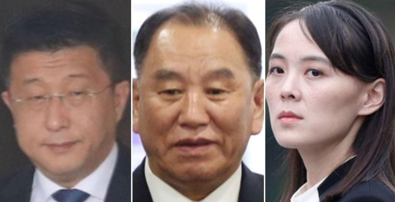 From left: Kim Hyok-chol, Kim Yong-chol and Kim Yo-jong (Yonhap)
