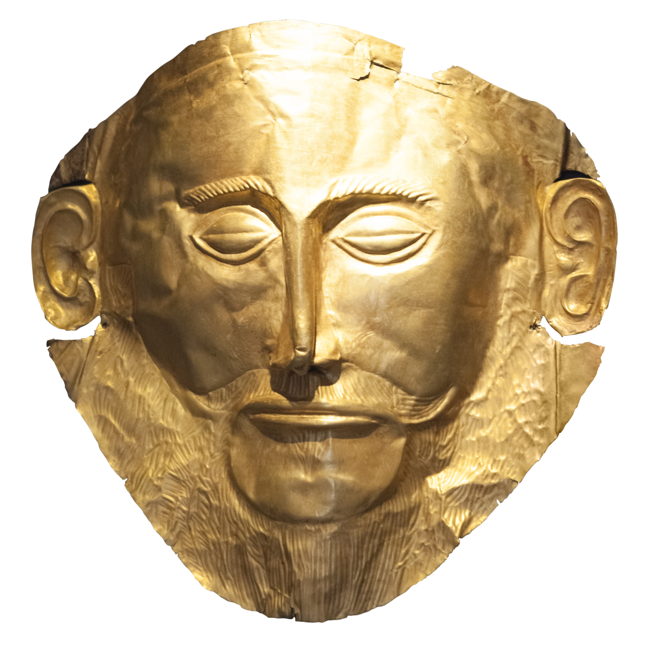 A replica of the golden mask of Agamemnon from the collection of the Archaeological Museum of Mycenae (Ministry of Culture and Sports of Greece)