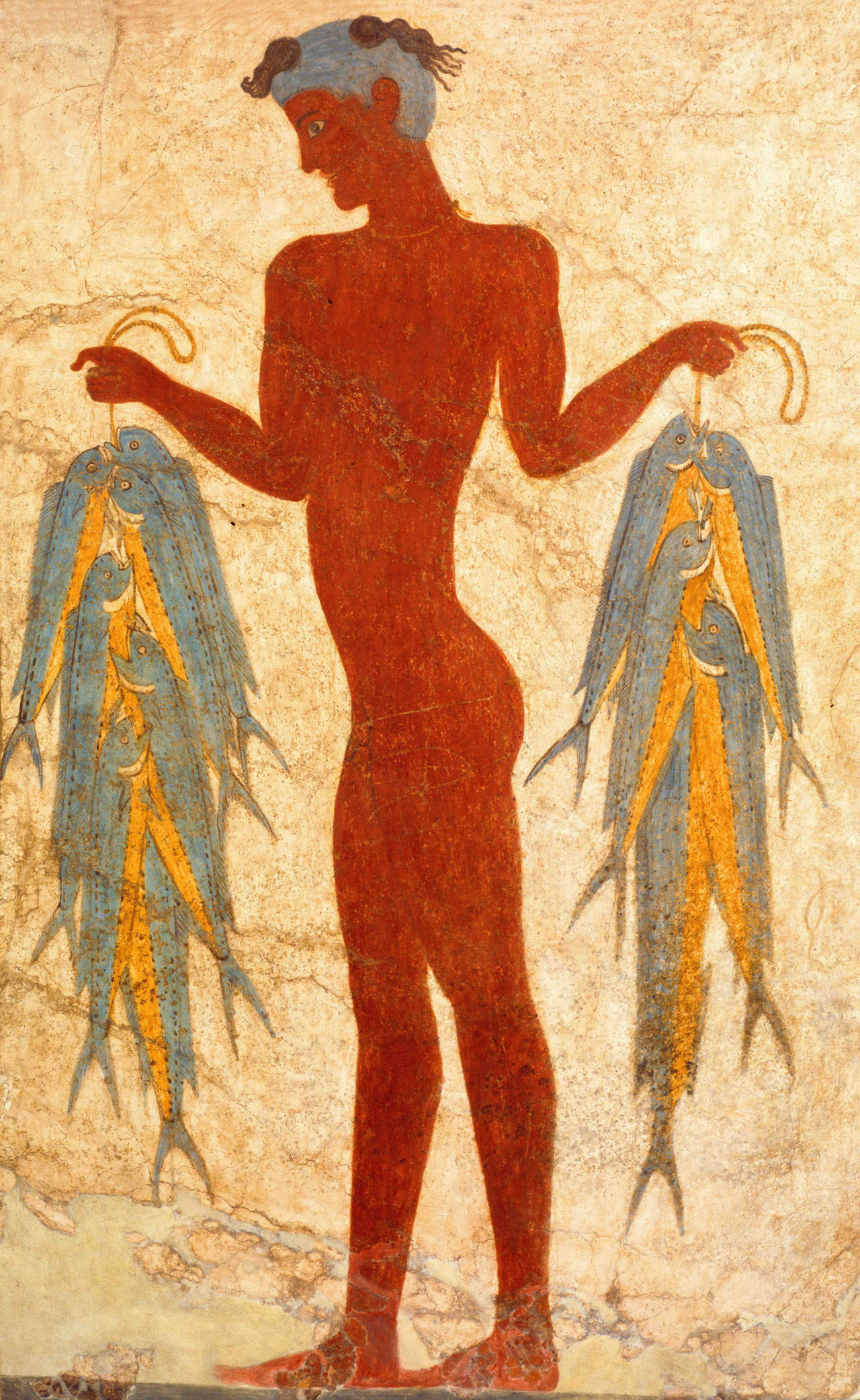 The fresco of a fisherman found at the Minoan town Akrotiri, from the collection of the Museum of Prehistoric Thera (Ministry of Culture and Sports of Greece)