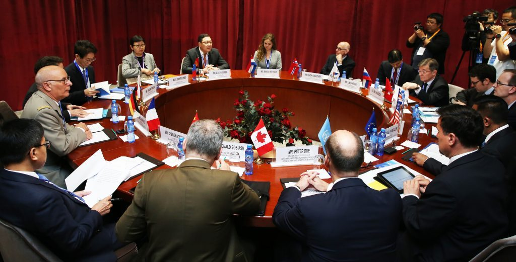 "The roundtable meeting of Track I participants of the Sixth International Conference of the ""Ulaanbaatar Dialogue on Northeast Asian Security"" was held in Ulaanbaatar on Wednesday. (Ministry of Foreign Affairs of Mongolia)"