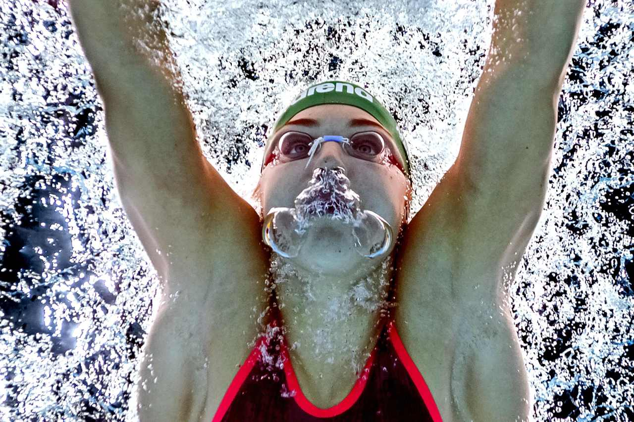 In this file photo taken with an underwater camera on July 29, 2017, Lithuania's Ruta Meilutyte competes in a heat of the women's 50m breaststroke during the swimming competition at the 2017 FINA World Championships in Budapest. - Lithuanian swimmer Ruta Meilutyte announced her retirement on Wednesday, May 22, 2019 at the age of 22, ending her impressive career in which she became Olympic and world champion. (AFP)