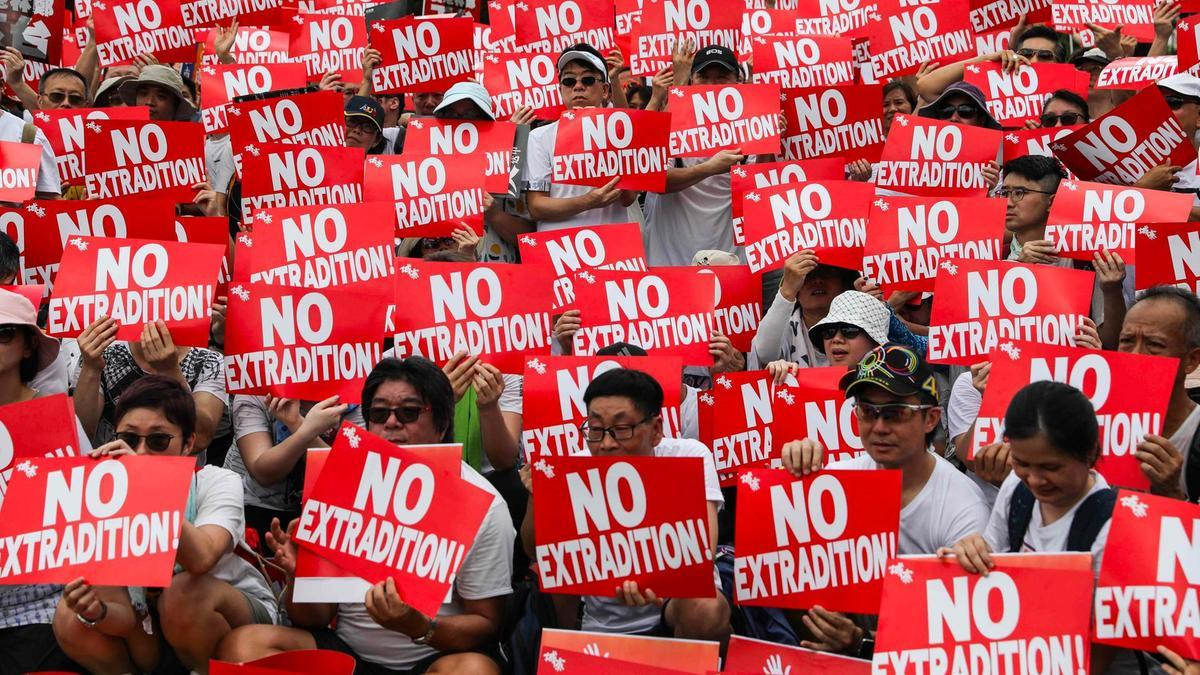Protesters attend a rally against a controversial extradition law proposal in Hong Kong. (AFP)