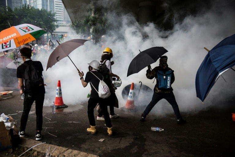 Tear gas fired by police surrounds protesters. (AFP)