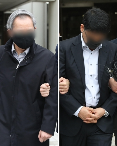 Doctors accused of concealing the cause of newborn`s death leave Seoul Central District Court in Seocho-gu, Seoul, Thursday. (Yonhap)