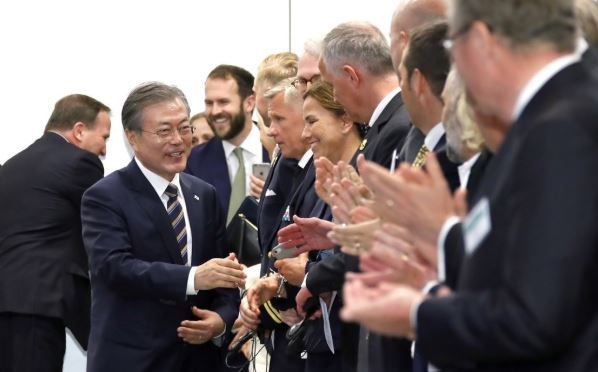 South Korean President Moon Jae-in meets Swedish business leaders during a