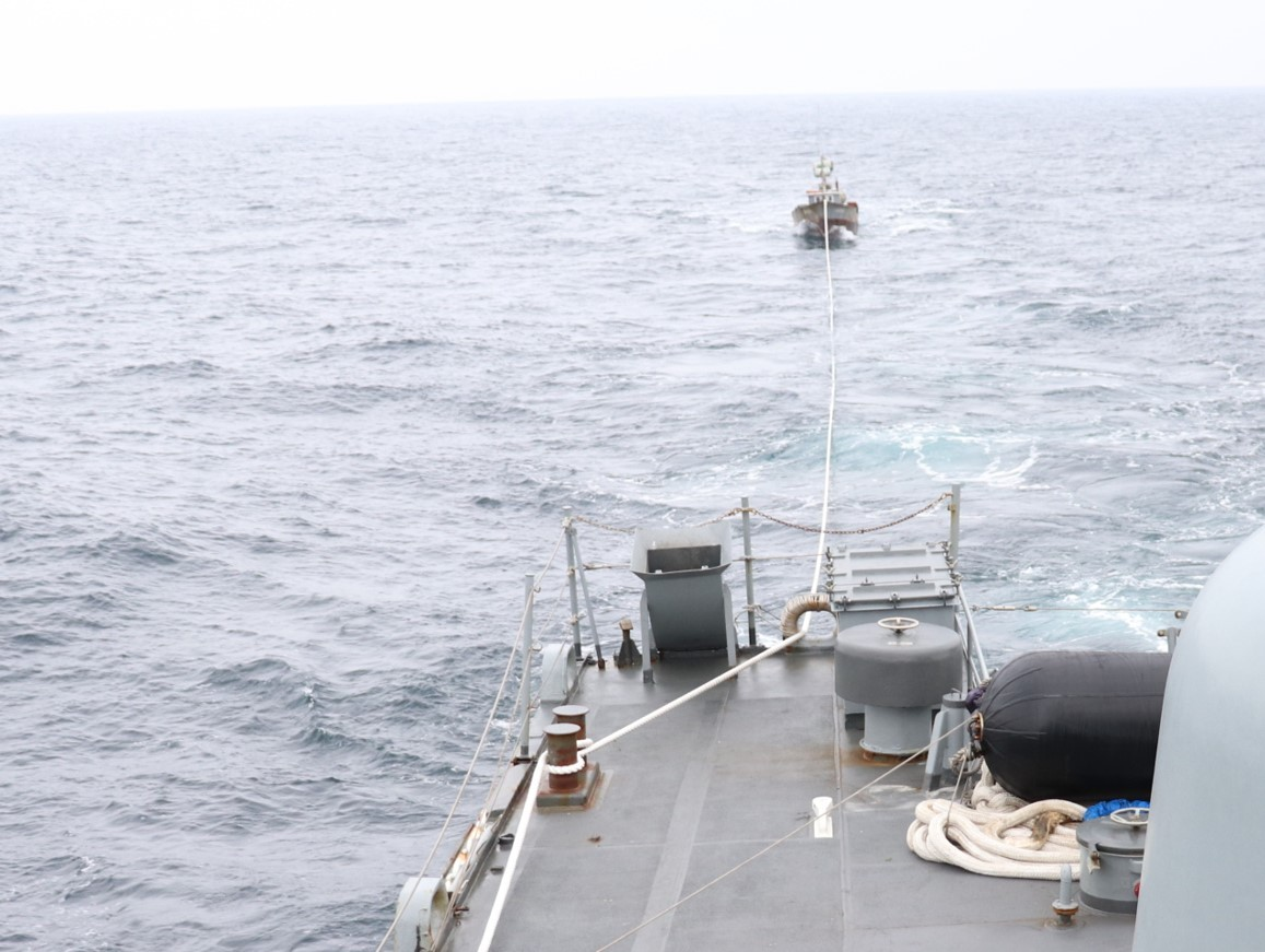 A North Korean fishing boat is being repatriated to the Northern Limit Line by South Korean Navy on Tuesday. (South Korea's Joint Chiefs of Staff)