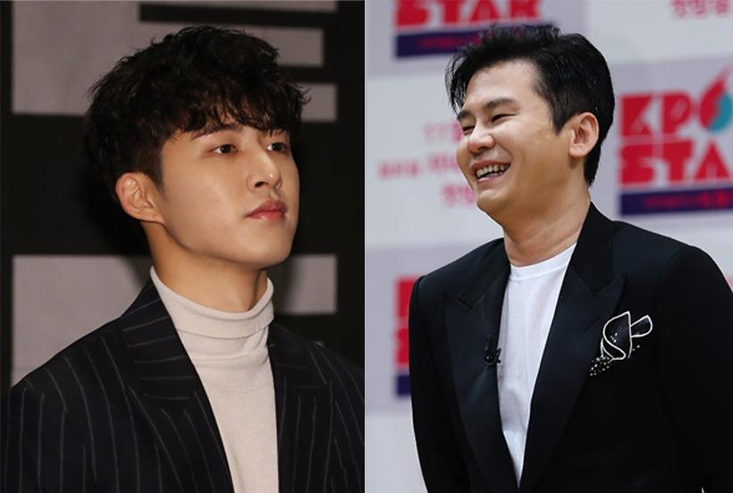 Founder of YG Entertainment, Yang Hyun-suk (right) and leader of boy band iKON, B.I (Yonhap)