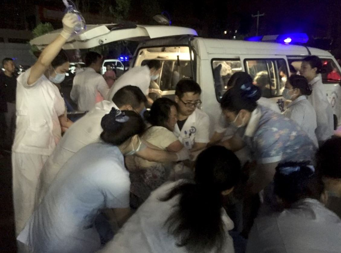 Medical staff tend to a wounded at a local hospital in the aftermath of an earthquake in Changning County of Yibin City, southwest China`s Sichuan Province, early Tuesday, June 18, 2019.(Xinhua-AP)