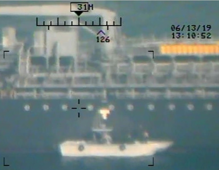 This image released on June 17, 2019 by the US Department of Defense is presented as new evidence incriminating Iran in the June 13 tanker attacks in the Gulf of Oman (AFP-Yonhap)