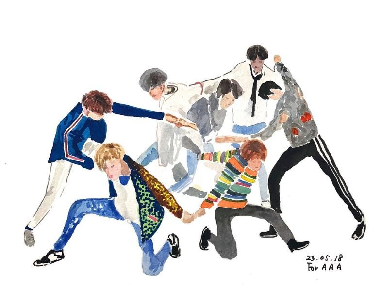 Their work touches on a variety of themes, including snippets of the couple's life together as well as the boys' interests. Seen here is Lee's rendering of K-pop group BTS. (Instagram@drawings_for_my_grandchildren)