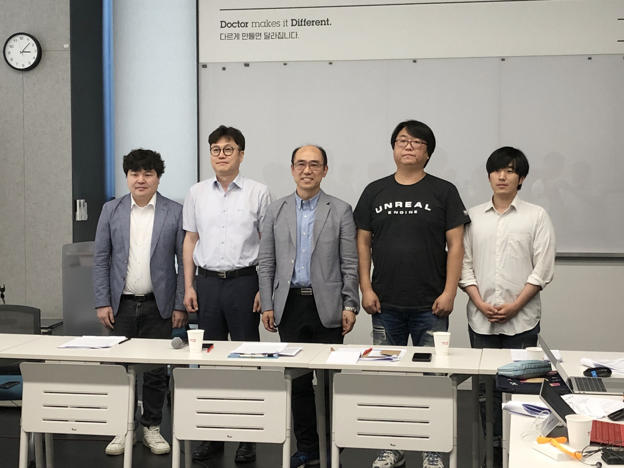 From left are Shim Jae-youn, research project director of Korea Academic Society of Games, Ha Yang-soo, director of Korea Internet PC Culture Association, Wi Jong-hyun, chairman of the committee against the domestic adoption of ICD-11, Kim Hyun-gyu, executive vice chairman of Korea Mobile Game Association and Hwang Hee-doo, chairman of Youth Culture Forum (Lim Jeong-yeo/The Korea Herald)