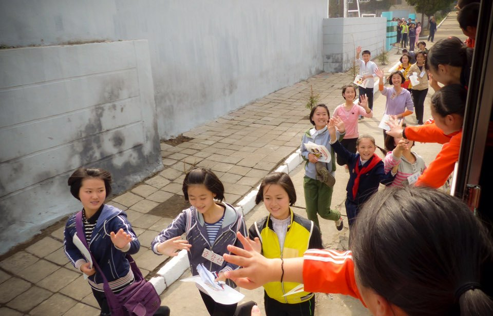 North Korean students bid farewell to ethnic Korean students living in Japan as they leave North Korea. (Park Yeong-i)