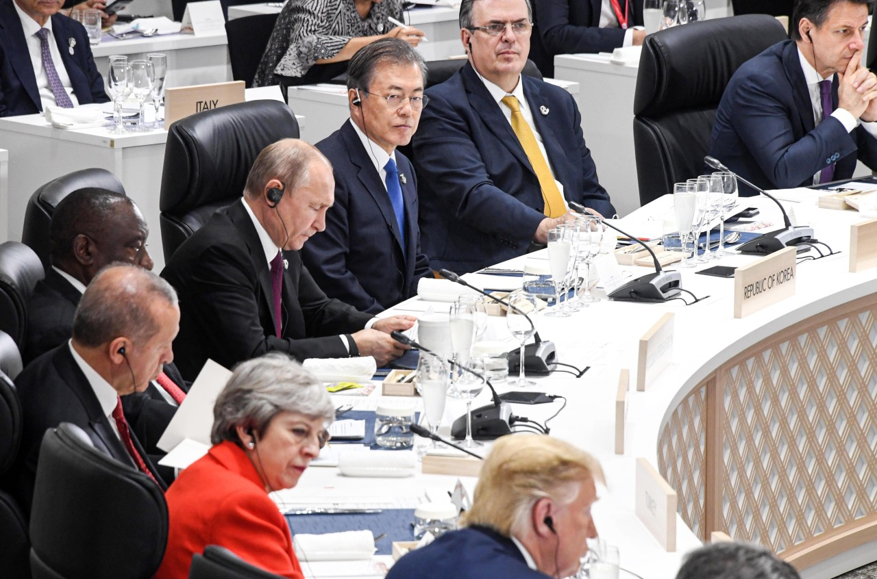 President Moon Jae-in and other world leaders attend the G-20 Summit in Osaka, Japan on Friday. Yonhap