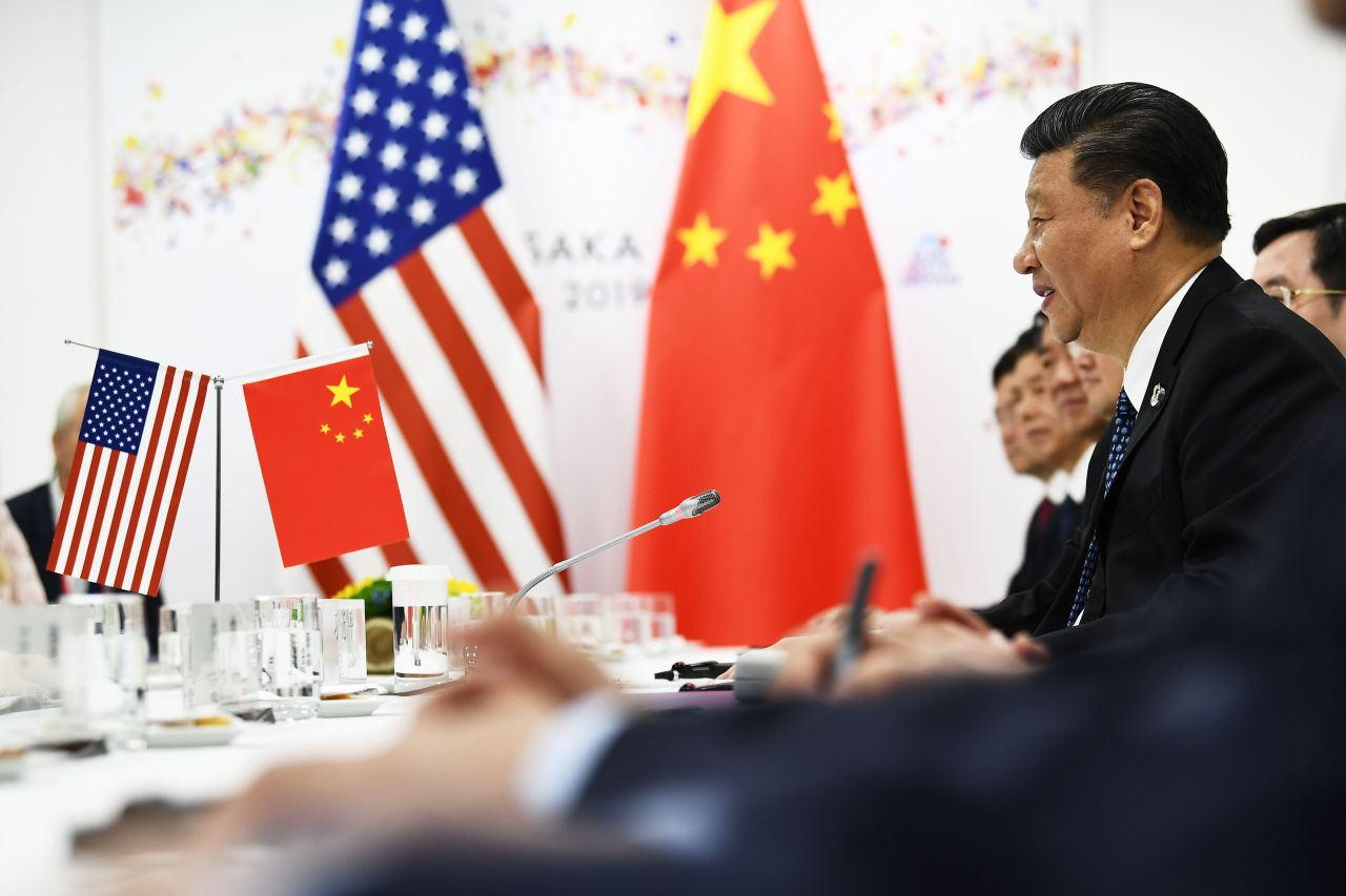 Chinese President Xi Jinping sits in his bilateral meeting with US counterpart Donald Trump on Saturday. (Yonhap)