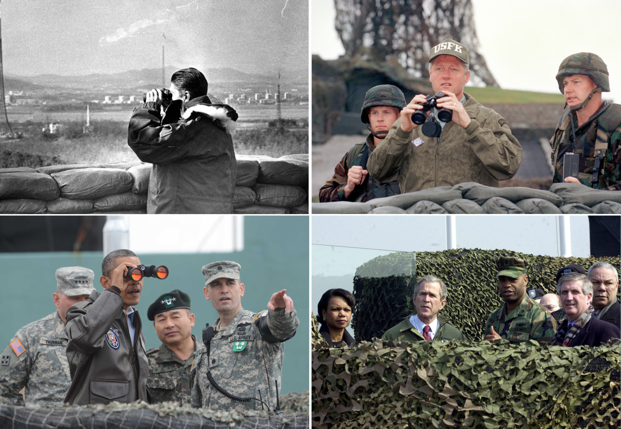 Former US presidents visited the Demilitarized Zone dividing the two Koreas. From top left, clockwise: Ronald Reagan on Nov. 14, 1983; Bill Clinton on July 11, 1993; George W. Bush, February 20, 2002; Barack Obama on March 25, 2012. (Yonhap)