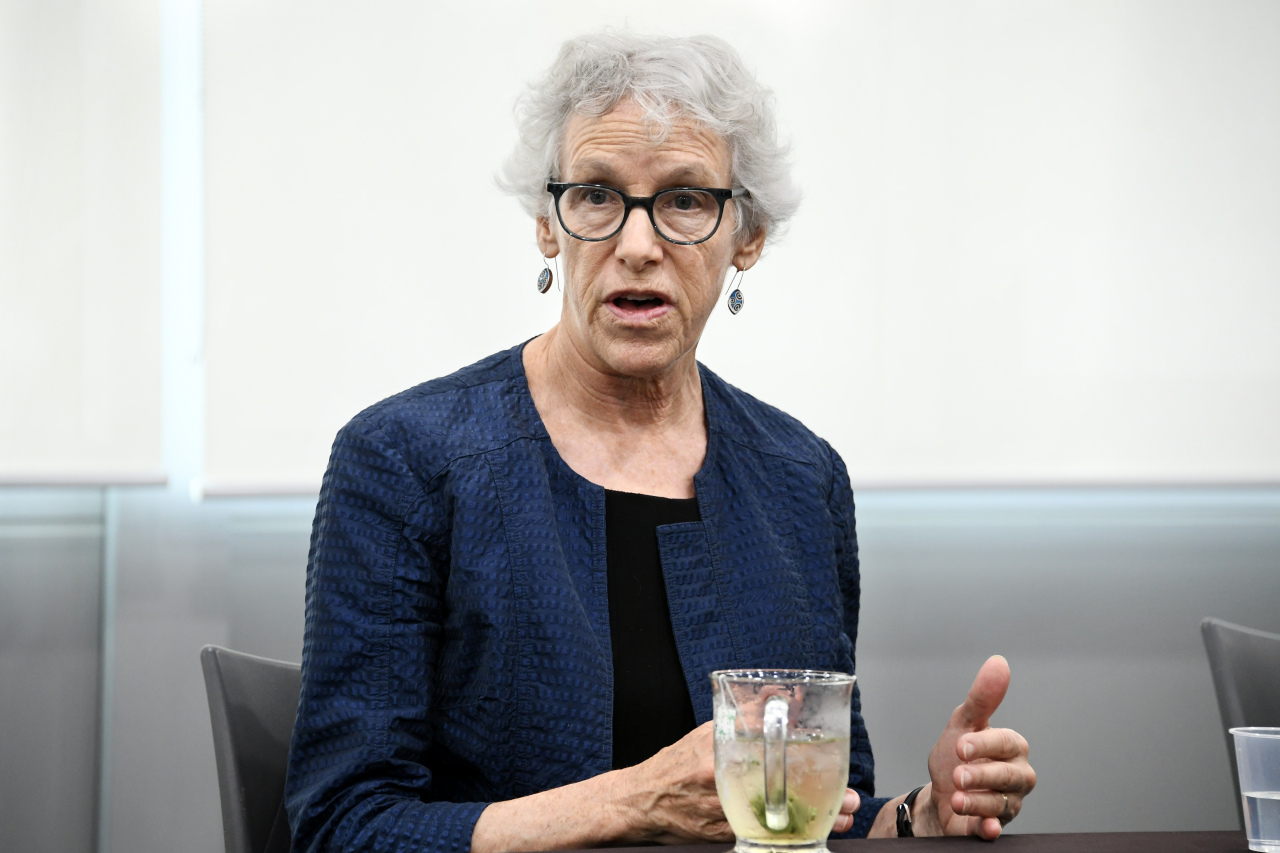 Joan C. Williams, a law professor at the University of California's Hastings College of the Law, speaks during an interview with a group of reporters at Seoul City Hall, Monday. (Seoul Metropolitan Government)