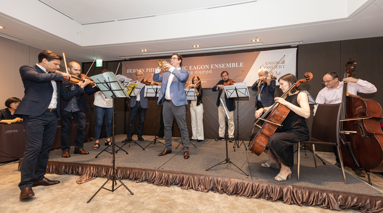 Members of the Berlin Philharmonic Eagon Ensemble perform during a press conference held Wednesday at the Plaza Hotel Seoul. (Eagon)
